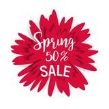 Πώληση 50 άνοιξη με το κόκκινο λουλούδι Στοκ φωτογραφία με δικαίωμα ελεύθερης χρήσης