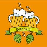 Πώληση, έννοια έκπτωσης Αφίσα ή έμβλημα μπύρας για το μπαρ ή το κατάστημα Απεικόνιση αποθεμάτων