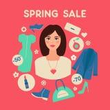 Πώληση ανοίξεων αγορών στο επίπεδο σχέδιο με τη γυναίκα απεικόνιση αποθεμάτων
