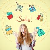πώληση ενίσχυσης χεριών γυαλιού έννοιας Στοκ Εικόνες