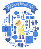 Πώληση εξοπλισμού Ðœedical που τίθεται με το γιατρό συρίγγων Στοκ εικόνα με δικαίωμα ελεύθερης χρήσης