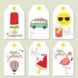 Πώληση ετικεττών το καλοκαίρι με το παγωτό, μπαλόνι, ήλιος, φορτηγό διανυσματική απεικόνιση