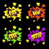 Πώληση, ελεύθερος, κείμενο προσφοράς στο ύφος κόμικς Στοκ εικόνα με δικαίωμα ελεύθερης χρήσης