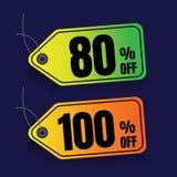Πώληση ζωηρόχρωμος percent έκπτωση Έξοχο έμβλημα πώλησης Θέση πώλησης Στοκ Φωτογραφίες