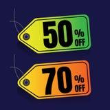 Πώληση ζωηρόχρωμος percent έκπτωση Έξοχο έμβλημα πώλησης Θέση πώλησης Στοκ Φωτογραφία
