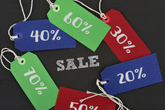 Πώληση και ετικέτες κειμένων με τα διαφορετικά ποσοστά Στοκ Φωτογραφίες