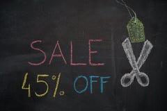 Πώληση 45% μακριά στον πίνακα κιμωλίας Στοκ Εικόνα