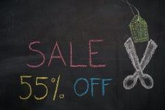 Πώληση 55% μακριά στον πίνακα κιμωλίας Στοκ φωτογραφίες με δικαίωμα ελεύθερης χρήσης