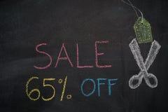 Πώληση 65% μακριά στον πίνακα κιμωλίας Στοκ Εικόνες
