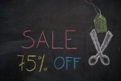 Πώληση 75% μακριά στον πίνακα κιμωλίας Στοκ εικόνες με δικαίωμα ελεύθερης χρήσης