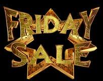 Πώληση Παρασκευής κειμένων σε ένα χρυσό αστέρι σε ένα μαύρο υπόβαθρο Στοκ Εικόνες