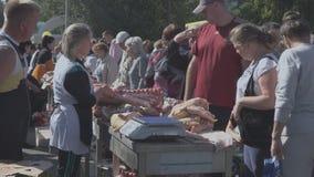 Πώληση του κρέατος στην έκθεση απόθεμα βίντεο