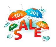 Πώληση των αλεξίπτωτων στο άσπρο υπόβαθρο Απεικόνιση αποθεμάτων