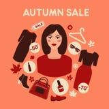 Πώληση φθινοπώρου αγορών στο επίπεδο σχέδιο με τη γυναίκα διανυσματική απεικόνιση