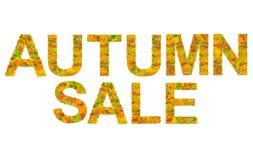 Πώληση φθινοπώρου φιαγμένη ζωηρόχρωμα φύλλα που απομονώνονται από στο λευκό Στοκ Φωτογραφία