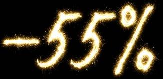 -55% πώληση percents φιαγμένη από sparkler Στοκ εικόνες με δικαίωμα ελεύθερης χρήσης