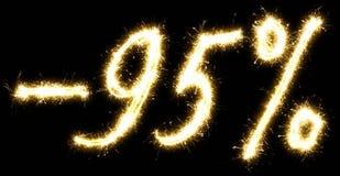 -95% πώληση percents φιαγμένη από sparkler Στοκ φωτογραφία με δικαίωμα ελεύθερης χρήσης