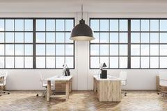 Πλάγια όψη ενός γραφείου με το ξύλινα πάτωμα και τα έπιπλα διανυσματική απεικόνιση