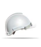 Πλάγια όψη του άσπρου απομονωμένου κράνος υποβάθρου ασφάλειας στοκ εικόνες με δικαίωμα ελεύθερης χρήσης