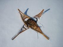 Πλέγματα σχήματος ρακέτας στο χιόνι Στοκ εικόνα με δικαίωμα ελεύθερης χρήσης