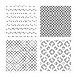 Πλέγμα ρόμβων και άνευ ραφής συστάσεις γραμμών κυμάτων Στοκ Εικόνες