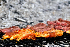 Πλέγμα σχαρών, που παρατάσσει τα κρέατα Στοκ φωτογραφία με δικαίωμα ελεύθερης χρήσης