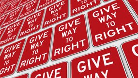 Πλέγμα Give Way στα σωστά σημάδια Στοκ φωτογραφία με δικαίωμα ελεύθερης χρήσης