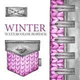 Πλέκοντας σύνορα Watercolor με το στοιχείο, τα κουμπιά και την τσέπη δέρματος Υφαντικό υπόβαθρο μόδας Στοκ Εικόνες