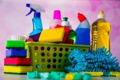 Πλένοντας και καθαρίζοντας εξοπλισμός, σύνολο καθαρισμού Στοκ Εικόνα