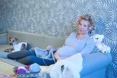 Πλέξιμο εγκύων γυναικών Στοκ Φωτογραφία