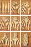 Πλέξιμο ενός ψωμιού challah, κολάζ Στοκ φωτογραφία με δικαίωμα ελεύθερης χρήσης