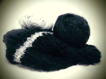Πλέξιμο Μαύρο μαλλί Στοκ φωτογραφία με δικαίωμα ελεύθερης χρήσης