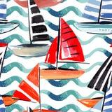Πλέοντας άνευ ραφής υπόβαθρο watercolor βαρκών ελεύθερη απεικόνιση δικαιώματος