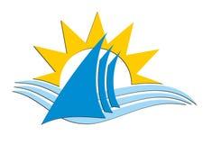 Πλέοντας λογότυπο σκαφών με μια πτώση Στοκ εικόνα με δικαίωμα ελεύθερης χρήσης