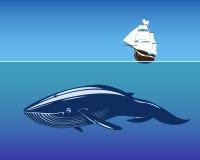 Πλέοντας σκάφος και τεράστια φάλαινα μέσα βαθιά Ελεύθερη απεικόνιση δικαιώματος