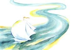 Πλέοντας σκάφος που επιπλέει στον ποταμό διανυσματική απεικόνιση