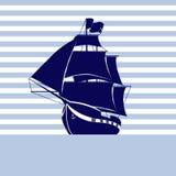 Πλέοντας σκάφος στο υπόβαθρο λουρίδων στη θάλασσα Διανυσματική απεικόνιση