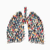 πλήθος ιατρικής πνευμόνων ανθρώπων Στοκ Εικόνες