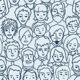 Πλήθος, διαφορετικό άνευ ραφής σχέδιο προσώπων Στοκ εικόνες με δικαίωμα ελεύθερης χρήσης