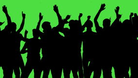 Πλήθος των ανεμιστήρων που χορεύουν στην πράσινη οθόνη Συναυλία, άλμα, χορός, χέρια επάνω απόθεμα βίντεο