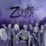 Πλήθος Zombie που περπατά προς τα εμπρός διανυσματική απεικόνιση