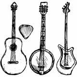 Πλήκτρο κιθάρων, κιθάρα και μπάντζο διανυσματική απεικόνιση