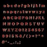 Πλήρες αλφάβητο του σκουριασμένου κόκκινου χρωματισμένου χρωματισμένου μετάλλου Στοκ Εικόνες
