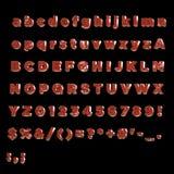 Πλήρες αλφάβητο του χρωματισμένου κόκκινου μετάλλου ι Στοκ Εικόνα
