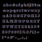Πλήρες αλφάβητο του χρωματισμένου μπλε ξύλου Στοκ Φωτογραφίες