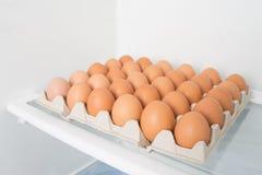 Πλήρες κιβώτιο των αυγών σε ένα ψυγείο Στοκ Εικόνες