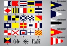 Πλήρες σύνολο ναυτικών σημαιών για τις επιστολές Στοκ Εικόνες