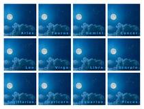 Πλήρες σύνολο zodiac σχεδίου αστερισμών με τη πανσέληνο στο ν Στοκ Εικόνες