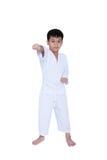 Πλήρες σώμα της ασιατικής κατάρτισης taekwondo πολεμικής τέχνης αθλητών παιδιών Στοκ Φωτογραφίες
