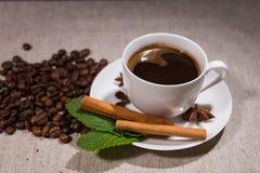 Πλήρες φλιτζάνι του καφέ με τα ραβδιά κανέλας και τη μέντα Στοκ Εικόνα
